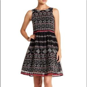 TAYLOR Party Dress Embroidered Black Pink SZ 8